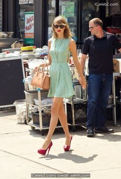 Taylor Swift looking fabulous in a dress while out with Karlie Kloss http://icelebz.com/events/taylor_swift_looking_fabulous_in_a_dress_while_out_with_karlie_kloss/photo2.html