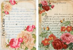 """8 """"Floral"""" Postcard Background Hang Gift Tags for Scrapbook Pages 33 