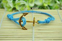 Golden  Anchor BraceletBlue  Wax rope  Bracelet Charm by Evanworld, $1.50