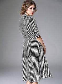 British Stripe Waist Big Hem Lapel Dress