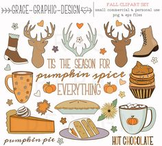 Commercial Use FALL Clipart Set, Thanksgiving VECTOR Clipart Set This inspiring set of Fall digital illustrations are available to you for