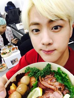 "Me: ""Oh god that looks so good gimme some"" Jin: ""Well thank you but I'm sorry I can't be shared"" Me: ""Oh, sorry I meant the food"" Jin: "".......COME I WILL FEED YOU."""
