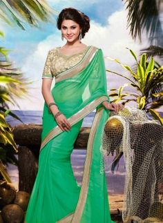 Green Indian fashion satin chiffon wedding saree