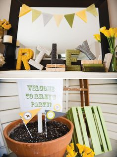 Country fair themed party. (& love the yarn-covered letters! would be cute for holidays or in a bedroom)