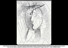 """1965 Picasso drawing, """"Tete de Femme"""", which was stolen and returned to Weinstein Gallery in San Francisco this week Picasso Sketches, Picasso Drawing, Painting & Drawing, Figure Painting, Kunst Picasso, Picasso Art, Picasso Style, Easy Drawings, Pencil Drawings"""