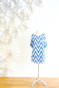 Chevron Dress- Blue