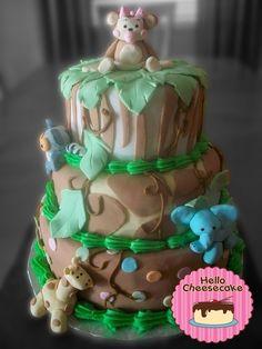 Safari Baby Shower Cake, Girl Version    #baby #babyshower #cake #fondant #jungle #safari #cute #animals