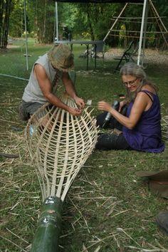 Making a bamboo hammock
