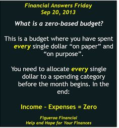 Welcome to Financial Answers Friday (Sep-20-2013)! The topic today is the zero-based #budget.