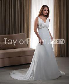 Elegant V-neck Empire Floor-length Chapel Appliques Wedding Dresses