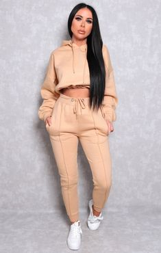 Khaki With White Stripe Lounge Wear Set - Lexi Cute Lazy Outfits, Swag Outfits For Girls, Cute Swag Outfits, Sporty Outfits, Girl Outfits, Fashion Outfits, Cropped Hoodie Outfit, Hoodie Outfit Casual, Joggers Outfit
