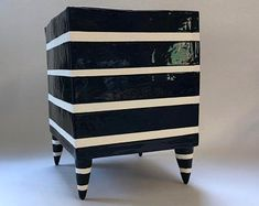 whimsical pottery Planter, light turquoise with gum ball polka-dots, lime green, Black & White striped Beetlejuice legs Green Furniture, Painted Furniture, Black White Stripes, Black And White, Ceramic Shop, Light Turquoise, Bold Colors, Whimsical, Cool Designs