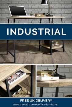 Industrial and contemporary home office desk. Free 5 day delivery to UK mainland.