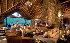 Kwandwe in the center of South Africa's malaria-free area near Grahamstown. Situated on 23 100 hectares of the vast African wilderness. The reserve is a member of the exclusive Relais & Chateaux portfolio. Resort Interior, South Africa Safari, African House, Game Lodge, River Lodge, Private Games, Mountain Living, Game Reserve, Africa Travel