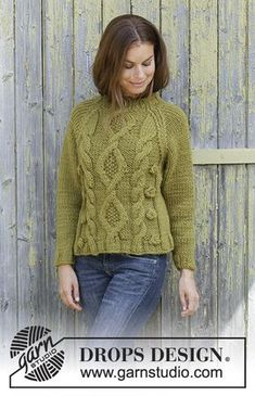 ef01b7ca Green Tea - Knitted jumper with raglan in DROPS Eskimo. Piece is knitted  bottom up