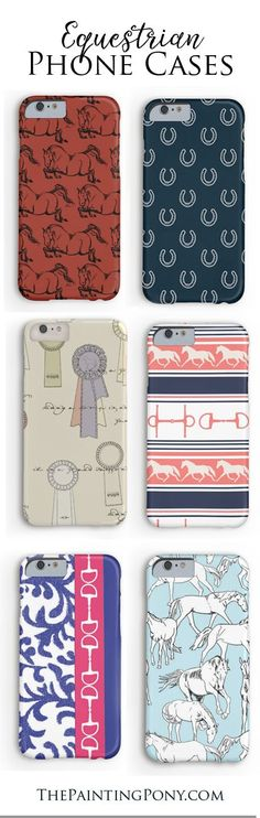 equestrian phone cases for the horse lover with fun and colorful iphone and samsung galaxy model cases featuring hunter jumper horses, horse shoes, ponies, and other fun artwork. These are sooo cute!
