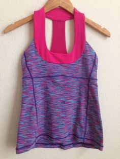Lululemon Senorita Pink Scoop Neck Tank Top Space Dye size 6  #Lululemon #SportsBrasBraTops
