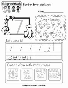 Choose a number 7 worksheet. Number worksheets are good practice for preschool and elementary school kids. Customize your worksheets by changing the . Number Worksheets Kindergarten, Teaching Numbers, Numbers Preschool, Math Numbers, Preschool Math, Worksheets For Kids, Science Worksheets, Preschool Themes, Math Activities