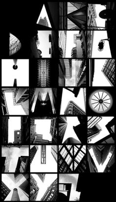 Contact print of letters created from buildings.