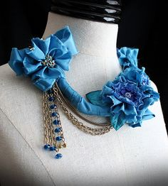 FIRST PRIZE  Blue Textile Mixed Media Statement Necklace