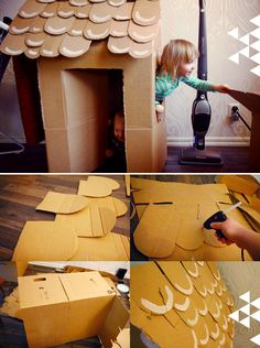 DIY cardboard gingerbread-look house. Great idea for Christmas entertainment for the kids