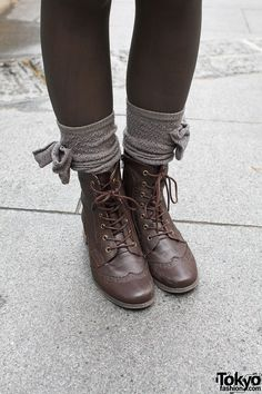 lace-up boots with bow socks