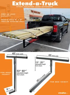 Darby Extend-A-Truck Hitch Mounted Load Extender - Roof or Truck Bed Darby Bed Extender Truck Accesories, Trailer Hitch Accessories, Pickup Truck Accessories, Truck Mods, Truck Camper, Truck Bed Camping, Truck Bed Storage, Truck Roof Rack, Truck Bed Extender