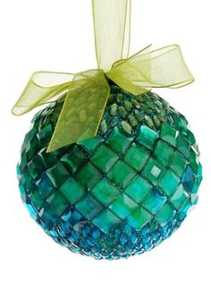 "Amazon.com - 4"" Regal Peacock Blue and Green Jeweled Gemstone Ball Christmas Ornament"