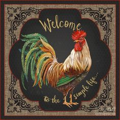 Trademark Fine Art 'Country Kitchen Graphic Art Print on Wrapped Canvas Size: H x W x D Rooster Painting, Rooster Art, Rooster Decor, Rooster Kitchen Decor, Chicken Painting, Chicken Art, 3 Canvas Art, Artist Canvas, Canvas Size
