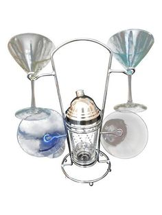 Cocktail Shaker with Martini Glasses - Set of 6 on Chairish.com