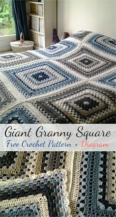 Giant Granny Square is the most wonderful pattern ever! You can select your own color scheme. You can stop your work any time as soon as desired square size is reached. To make a throw or blanket abou