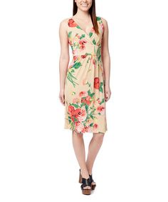 This Red & Taupe Floral V-Neck Dress is perfect! #zulilyfinds