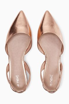 Buy Rose Gold Slingback Points from the Next UK online shop Metallic Flats c2f432bc4