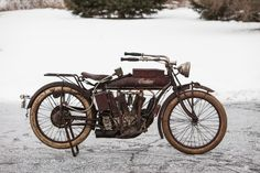 The 1914 Indian '#Hendee Special' is believed to be the first #motorcycle equipped with an electric starter. #VintageMotorcycles