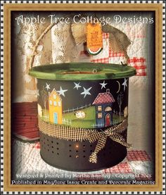 Apple Tree Cottage Original Design E Pattern - Starry Night Minnow Bucket Lantern Pintura Country, Primitive Painting, Painting On Wood, Painted Pots, Hand Painted, Decoupage, Tole Painting Patterns, Summer Painting, Country Paintings