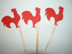 Red Rooster Party Picks - cocka doodle doo