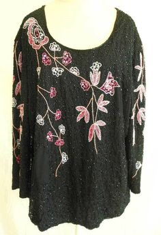 bab5b54bc64562 Details about Sequins Bugle Beads Flowers Deadstock Nos Tunic Blouse Allure  Vintage 70s 2X