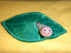 My Friend Worm - Needle Felted Worm and Wool Felt Leaf Pouch