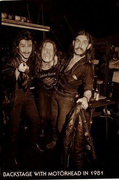 Backstage de un concierto de Motorhead en el año 1981