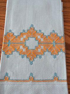 2 Vintage Swedish Huck Weaving  Hand Towels Turquoise by kgroah, 10.00