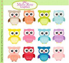 owls clip art  Digital Clip Art owls Personal by mollyrosegraphics, $4.50