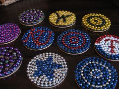 coasters made from mardi gras beads
