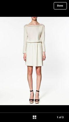 Zara Ivory Dress with Transparent Neck
