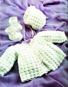 Rose Petals Dress, Bonnet and Bootie Baby Set Crochet
