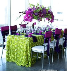 purple and green tablescape - B. Lovely Events