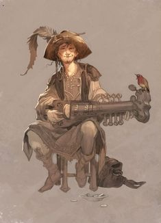 Male bard with something like a sitar - RPG character art inspiration Fantasy Character Design, Character Creation, Character Concept, Character Art, Concept Art, Fantasy Rpg, Medieval Fantasy, Fantasy Wizard, Dnd Characters