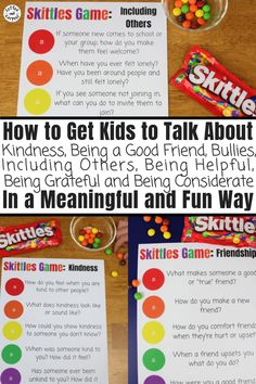 Skittles Game for Kids to Encourage Kindness and Friendship by having meaningful discussions and conversations about hard topics. This is perfect for youth groups, Scouts, classrooms and family dinners. - Kids education and learning acts Teaching Kindness, Kindness Activities, Learning Activities, Activities For Kids, Respect Activities, Therapy Activities, Preschool Friendship Activities, Kindness Notes, Kindness For Kids