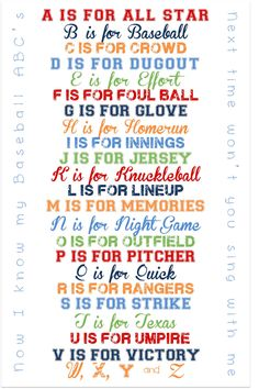 Baseball ABC Print for Nursery or Playroom maybe do with other sports or activities or with few things Baseball Crafts, Baseball Quotes, Baseball Party, Baseball Season, Sports Baseball, Softball, Baseball Stuff, Baseball Buckets, Marlins Baseball