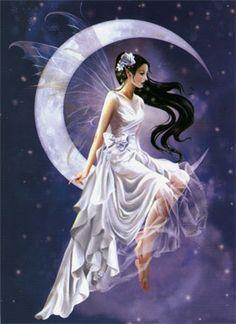 Elfenbilder Grußkarten Schneeelfe im Mond