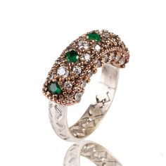 The Zerbap Acer Ring with Zircon Emerald Stones by Rosestyle, $25.00
